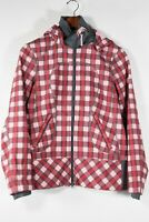 Lululemon Womens Medium Red Pink Silverescent Jacket Plaid Full Zip Hooded Coat