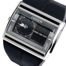 OHSEN Chrono Digital 12/24h Date Rubber Sport Waterproof Men Women's Watch Gift