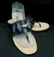 NWOB Anne Klein Women's Impeccable Wedge Sandal Slide Navy Bow Shiny Size 8