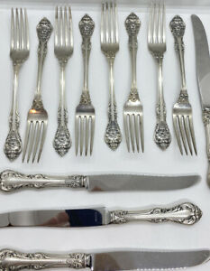 VINTAGE Gorham King Edward 16 PCS STERLING SILVER FLATWARE 500+g Not Scrap!