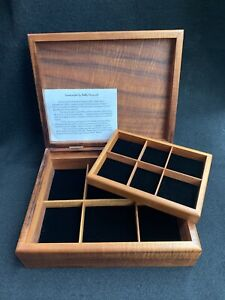 HAWAIIAN TIGER KOA WOOD JEWELRY BOX BOBBY YAMAUCHI Crafted Original Info Card