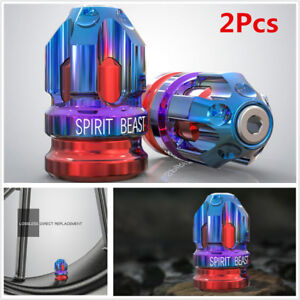 Motorcycle Tire Gas Valve Mouth Cover Cap Tire Decoration Accessories Blue & Red