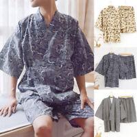 Mens Kimono Yukata Casual Japanese Bathrobe Robe Gown Nightwear Loose Fit Pants