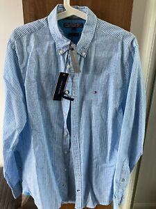 Mens Tommy Hilfiger Navy Blue/White Cheques Long Sleeve Shirt Size M Medium