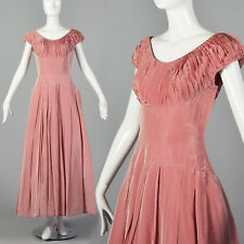 Xs 1940s Pleated Party Dress Short Sleeve Vintage Side Zip Pink Maxi Long Prom
