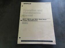 Caterpillar Cat Sr17 Sr18 Sr21 Skid Steer Loader Snowblowers Operation Manual