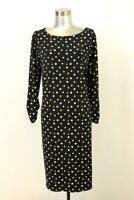 CHICOS 2 Brown Black Polka Dot Sheath Dress Womens Casual Career Modern L 12 14