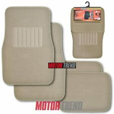 Heavy Duty Car Floor Mats Beige Rubber Backing 4 PC Extra Thick Carpet Cushion