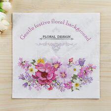 20pcs Pink Flowers Paper Napkins Wedding Party Tissue Napkins Decoupage