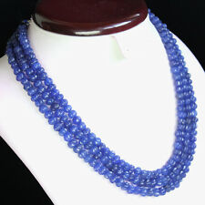 AMAZING QUALITY 432.00 CTS NATURAL CARVED 3 LINE BLUE SAPPHIRE BEADS NECKLACE