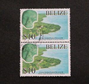 BELIZE - 2005 SCARCE TOP VALUE $10 CERROS VFU PAIR RR