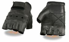 Men's Lightweight Leather Fingerless Glove, Padded Palm & Wrist Strap UP TO 5X