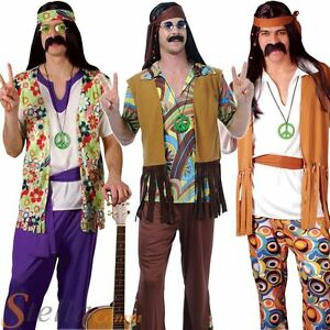 Mens Groovy Hippy Outfit 60s 70s Flares + Top Fancy Dress Costume Hippie Adult
