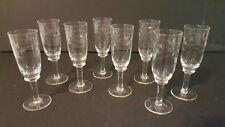 Vintage Set of 8 Cut Crystal Stem Pedestal Liquor Whiskey Cordial Glasses