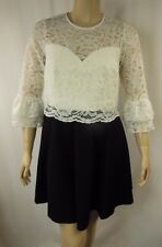 NEW City Chic Black White Lace Overlay Skater Dress Plus Size XS 14 BNWOT #C1071