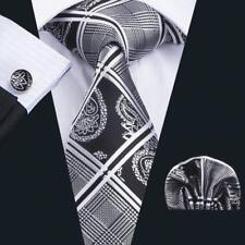 USA Silk Necktie Mens Ties Set White Black Paisley Hankerchief Cufflinks Set