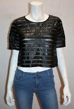Bardot Brand Black Faux Leather Mesh Striped Tee Size 8 BNWT #TH71