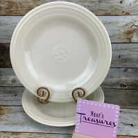Oneida PETAL GARDENIA Cream Embossed Band Flower Stoneware Dinner Plates Set 2