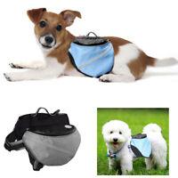 Pet Pack Dog Saddle Bag Backpack Carrier Outdoor Travel Camping Harness adjust