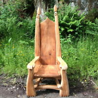 HAND CARVED STORYTELLING CHAIR ❤ wooden oak garden throne, patio furniture ❤