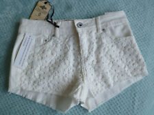 BNWT, CREAM, DENIM SHORTS WITH LACY OVERLAY BY NEW LOOK - UK 10
