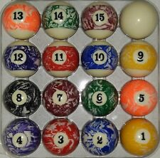 Marble Swirl Look Balls Pool Table Billiard Ball Set Complete 16 Ball Set