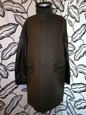 All Saints Italian Cloth Parka Coat with Leather Sleeves Size Medium