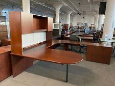 6x9x9 Oversized U Shape Desk Byhaworth Office Furniture In Cherry Finish Wood