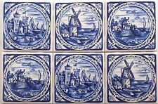 Delft Blue Design set 6 Tiles House Castle Windmill Ceramic Tile 4.25""