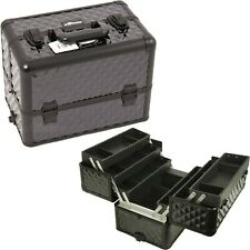 Sunrise Pro Makeup Train Case 6-Tiers Extendable Trays, Lock and Strap