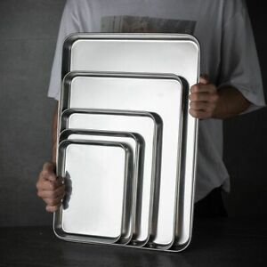 Plate Rectangle Heavy Duty Sturdy Baking Tray Cookie Sheets Loaf Pan Cake Dish