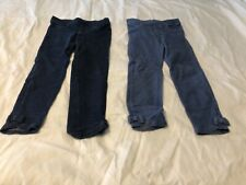 Two pairs of girl's 5T Gymboree jeggings with ankle bows - light & dark blue