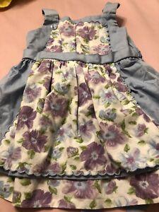 Used Janie Jack Tea Time Lavender Floral Apron Dress 3-6 Months