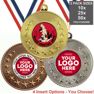 MIXED MARTIAL ARTS MMA METAL MEDALS 50mm, PACK OF 10 RIBBONS INSERTS or OWN LOGO