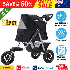 iPet i.Pet Pet Stroller Dog Carrier Foldable Pram Black Wheel Travel Large NEW