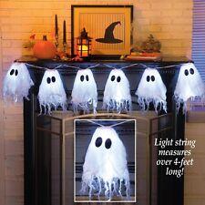 Set of 6 LED Lighted Halloween Ghost Halloween Garland String Lights
