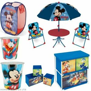 CHILDRENS BOYS MICKEY MOUSE BEDROOM ACCESSORIES TOYS STORAGE UNIT SET BIN BASKET