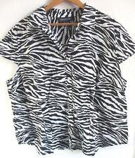 3X zebra blouse JONES NEW YORK womens button up down shirt 100% COTTON black
