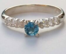925 Sterling Silver Swiss Blue Topaz Stone Ring with Clear CZ Shoulders SIZE Q