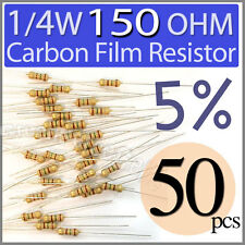 50 pcs Carbon Film Resistors 1/4W 0.25W 0.25 Watt 150 Ohm 150ohm +/-5%