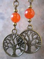 Bronze Wicca Tree of Life Orange Agate Stone Beads on Hinged French Ear Wires