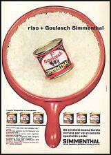 PUBBLICITA'  SIMMENTHAL GOULASCH SCATOLA MODELLI RISO PENTOLA STUDIO TESTA 1963