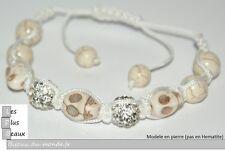 Bracelet STYLE SHAMBALLA BLANC Cassé Tete de MORT Boules DISCO & macramé NEUF