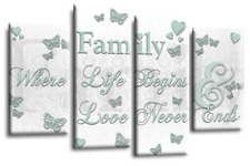 Family Quote Canvas Wall Art Picture Print White Duck Egg 4 Panel Split Multi