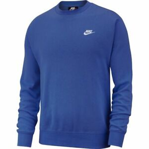Nike Sportswear Club Fleece Crewneck Sweatshirt BV2662-430 Blue | White L