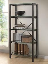 Display Shelf :: Modern BROWN WENGE Bookcase Bookshelf w/ TEMPERED GLASS SHELVES
