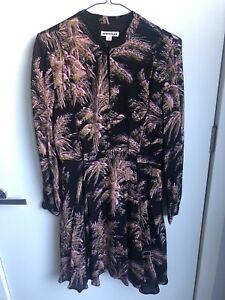 Whistles Tea Dress Size 10, Black With Botanical Print