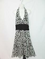 Maggy London 16 Black White Floral Halter Dress Silk Sleeveless Empire