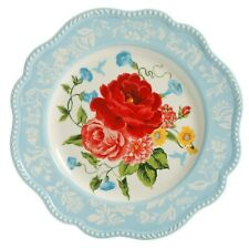 "Pioneer Woman Stoneware Sweet Rose Floral 10-3/4"" Embossed Dinner Plates TWO NEW"