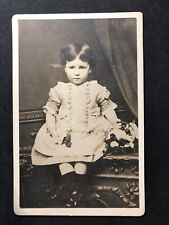 Victorian Photo Cabinet Card: Sweet Child Sat On Cupboard: Signed DUDLEY
